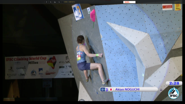Akiyo stepped up for the last move instead of jumping off the lower left foot.